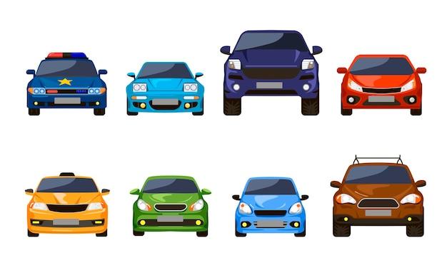 자동차 세트의 전면 보기입니다. 흰색으로 분리된 세단 자동차의 삽화. 도시 도로를 위한 현대적인 자동차 운송