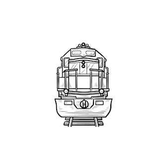 電車の手描きのアウトライン落書きアイコンの正面図。鉄道輸送、鉄道車両、旅行のコンセプト