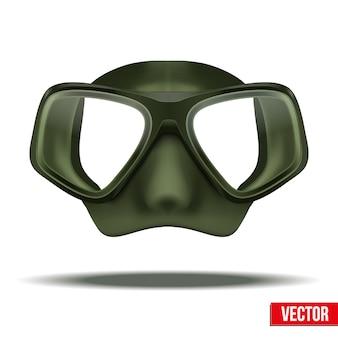 Вид спереди зеленой маски подводного плавания с аквалангом. водный отдых, резиновая защита на белом фоне