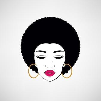흑인 여성 얼굴의 전면보기 초상화