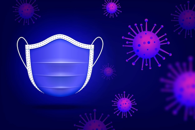 Защитная маска вид спереди и бактерии коронавируса Бесплатные векторы