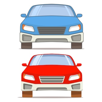 Front view of a red and blue car