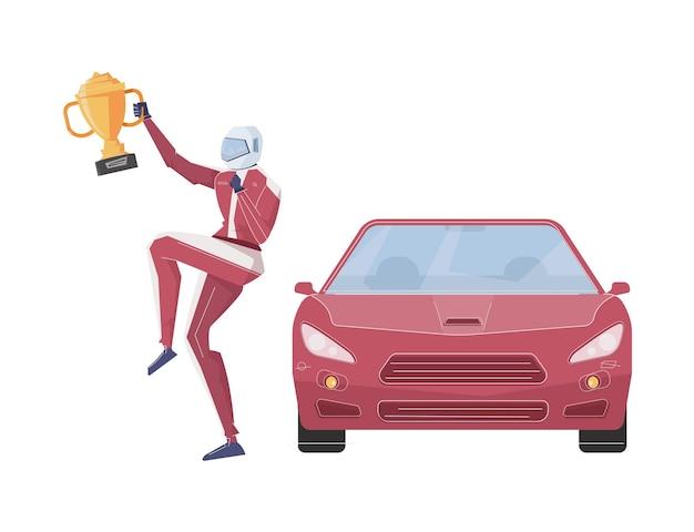 Vista frontale della macchina da corsa rossa e felice vincitore con trofeo piatto isolato