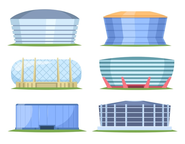 Front view of sport stadiums in cartoon style. city arena exterior illustration