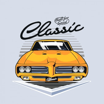 Front view of vintage muscle car