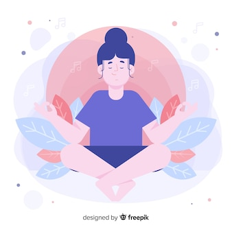 Front view woman meditating for landing page