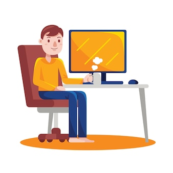 Вид спереди молодой человек, работающий с компьютером