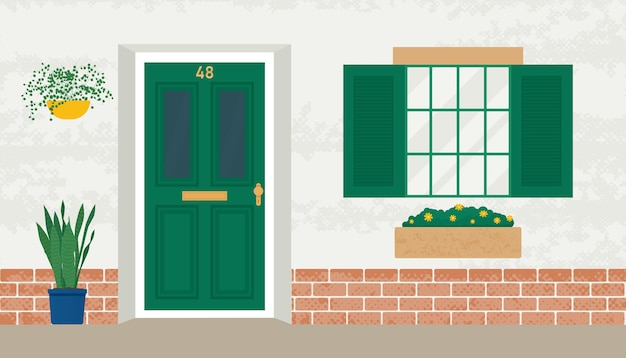 Front wooden door and window home old exterior in with flowers in pots vector illustration