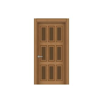Фронтальное изображение закрытой коричневой двери, изолированной на белом фоне.