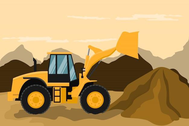 Фронтальный погрузчик выполняет строительные и горные работы. тяжелая техника.