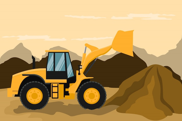 Frontal loader doing construction and mining work. heavy machinery.