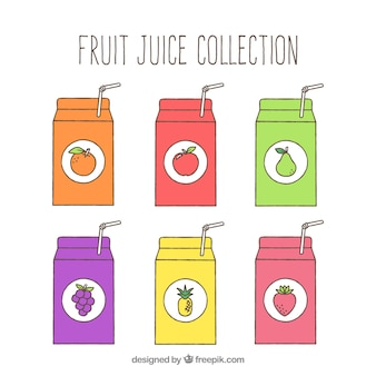 Frontal view of six fruit juice containers