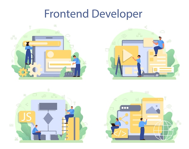 Frontend developer concept set. website interface design improvement.