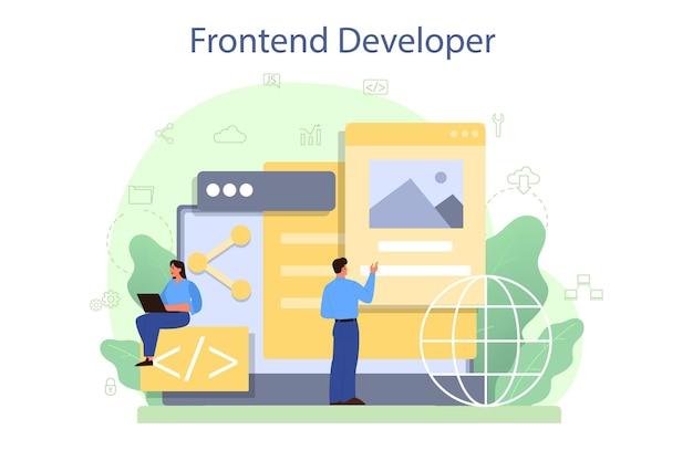 フロントエンド開発者のコンセプト。ウェブサイトのインターフェースデザインの改善。プログラミングとコーディング。 itの専門家。