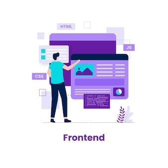 フロントエンドの開発者イラストのコンセプト。ウェブサイト、ランディングページ、モバイルアプリケーション、ポスター、バナーのイラスト