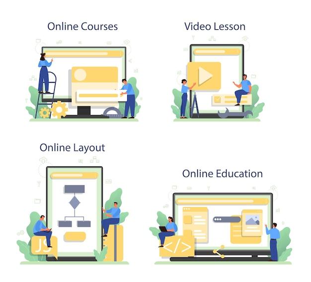 Frontend developer online service or platform set.