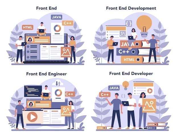 フロントエンド開発コンセプトセット。ウェブサイトのインターフェースデザインの改善。プログラミングとコーディング。 itの専門家。孤立したフラットベクトル図