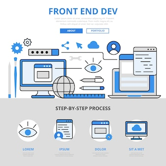 フロントエンド開発フロントエンド開発アプリアプリケーションソフトウェアguiuiuxインターフェイスコンセプトフラットラインスタイル。