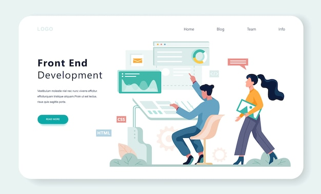 Frontend development web banner concept. website interface  improvement.    illustration