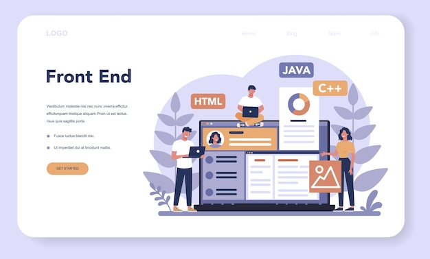 Frontend development web banner or landing page
