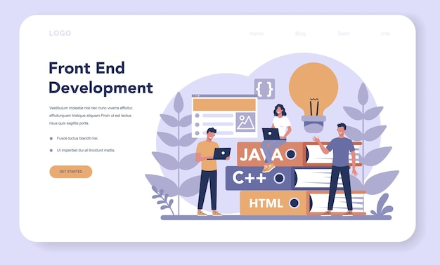 Frontend development web banner or landing page.