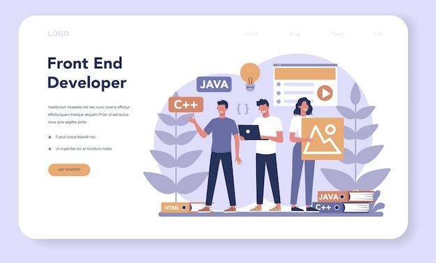 フロントエンド開発のwebランディングページ。ウェブサイトのインターフェースデザインの改善。プログラミングとコーディング。 itの専門家。孤立したフラットベクトル図