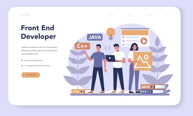Frontend development web  landing page. website interface design improvement. programming and coding. it profession. isolated flat vector illustration