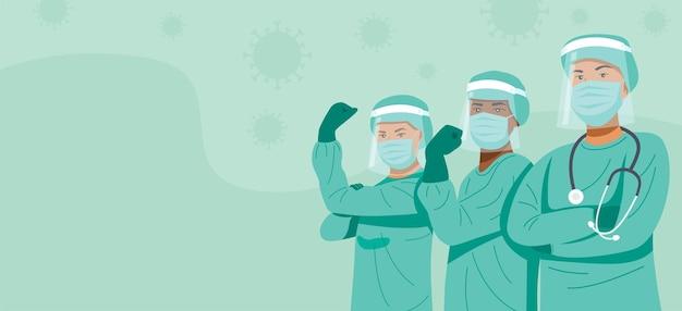 Frontline heroes, doctors and nurses wearing masks.
