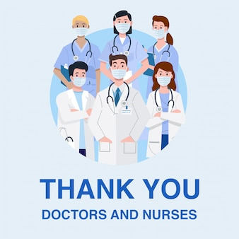 Frontline heroes, illustration of doctors and nurses characters wearing masks.