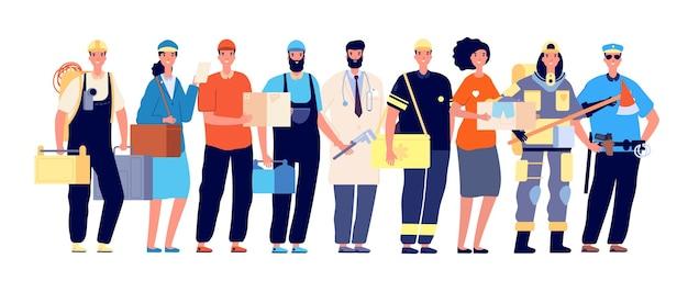 최전방 캐릭터. 필수 근로자, 코로나 바이러스 작업 영웅. 의사 간호사 경찰 우편 배달부, 전염병 시간 벡터 일러스트레이션의 팀워크. 의사와 택배, 의료팀 최전선
