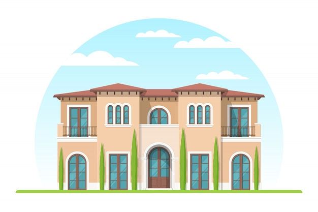 Frontview of mediterranean style suburban private house