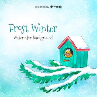 Frost winter watercolor background
