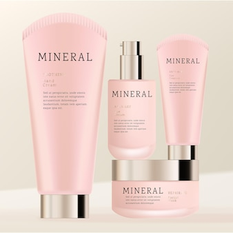 Frosted glass cosmetic or skincare packaging bundle with round sealing cleanser or cream tube jar and serum pump bottle