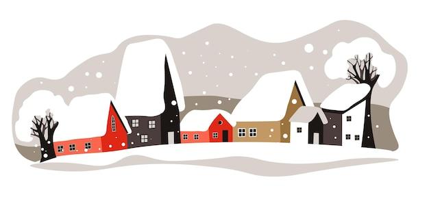 도시나 마을의 서리가 내리고 눈이 내리는 날씨. 거리와 집, 눈으로 덮인 나무가 있는 도시 풍경. 겨울 야외, 건물도. 겨울 계절 스카이 라인, 풍경 보기 벡터