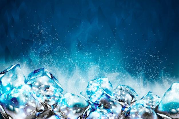 Морозный фон кубиков льда в голубых тонах