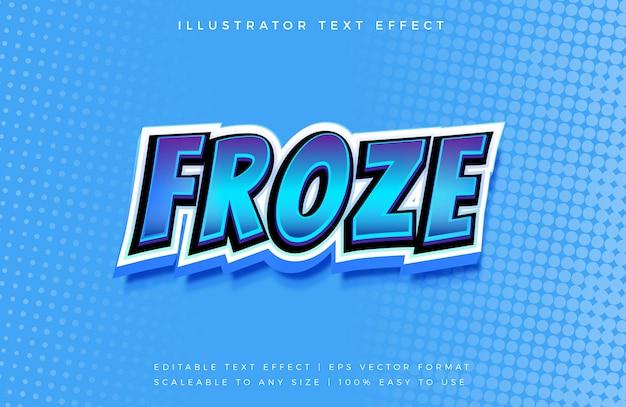 Эффект шрифта froze comic 3d text style