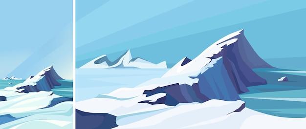 Замерзший северный ледовитый океан. природные пейзажи в вертикальной и горизонтальной ориентации.