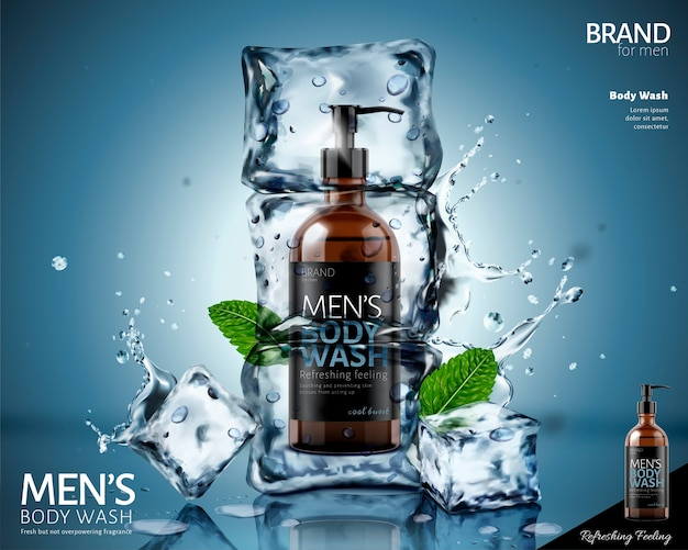 Frozen body wash in ice cubes with mint leaves and splashing water  on blue background