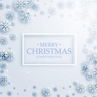 Стильный веселый дизайн рождественская открытка с белыми снежинками