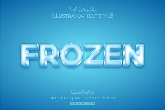 Frozen editable 3d text style effect premium Premium Vector