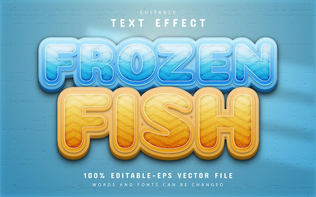 Frozen fish text effect editable
