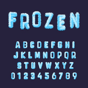 Frozen font alphabet template. set of blue white hoarfrost numbers and letters.