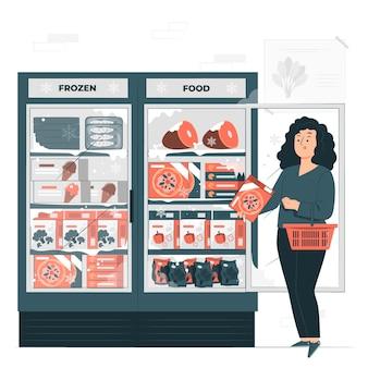 Illustrazione del concetto di cibo congelato