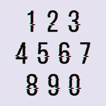 Frozen glitch screen distortion numbers. set of numbers distorted, numeral order illustration