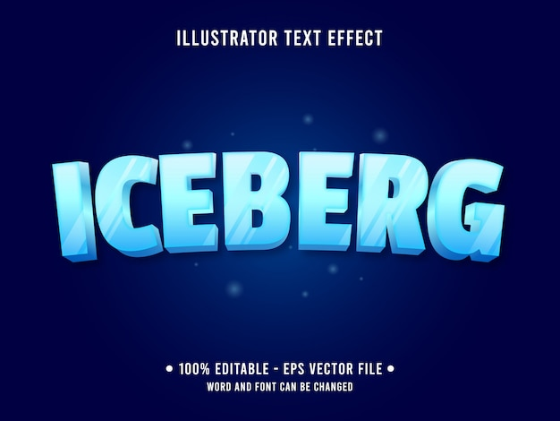 Frozen ice editable text effect