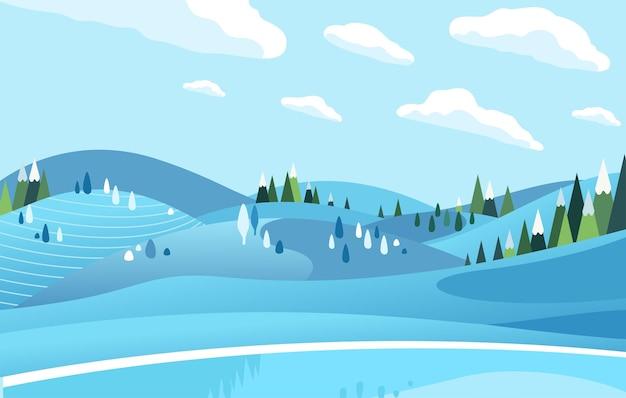 雪の平らなイラストで覆われた冬の凍った湖と木々の丘。バナー、ランディングページなどに使用されます