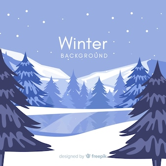 Frozen lake winter background