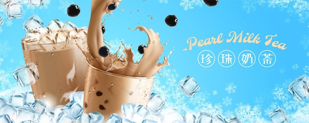 Frozen pearl milk tea banner ads with splashing milk tea Premium Vector