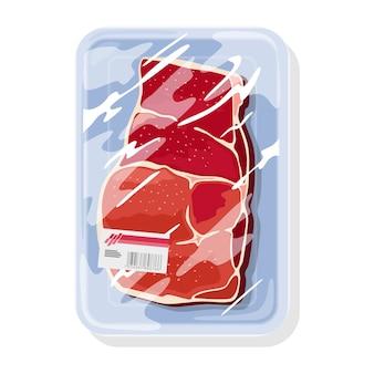냉동 생 쇠고기 스테이크는 투명한 식품 사란 랩 아래 플라스틱 트레이에 있습니다. 바베큐, 튀김, 구이, 굽고, 끓이기, 베이킹을위한 육류 제품. 화이트에 만화 그림입니다.