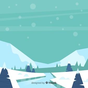 Frozen river winter landscape
